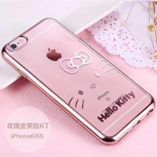 iPhone 6/6S 4.7吋 鍍金邊 軟殼 玫瑰金笑臉kitty