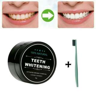 1 + 1 + 1 + 1 = 4 Items !  Activated Charcoal Teeth Whitening Powder Toothpaste + 1 Free toothbrush + Coconut Oil + Teeth Whitening Strip! Value Pack [ Restock ] Charcoal Powder