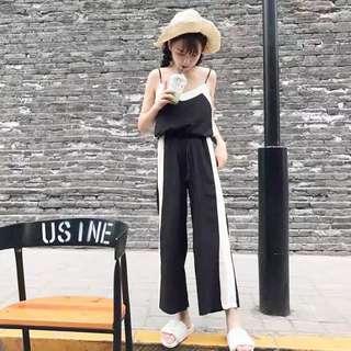 現貨!2017夏季新款簡約無袖背心+寬鬆顯瘦寬褲兩件式