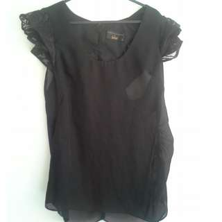 SZ14 Black Sheer Top with Lace Shoulder detailing