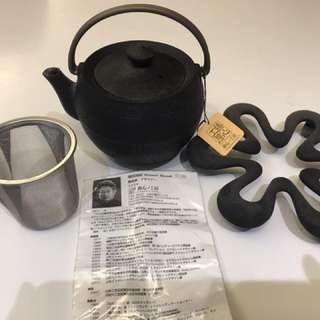 日本南部鐵器 增田尚紀大師作品 罕有連茶格鐵壺一個