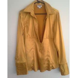 SZ L Gold Satin Long Sleeve Shirt