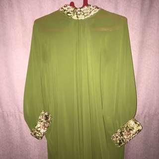 kaftan candrika by witana / baju muslim / terusan panjang hijau