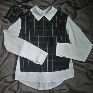Plaid Black White Sleeves