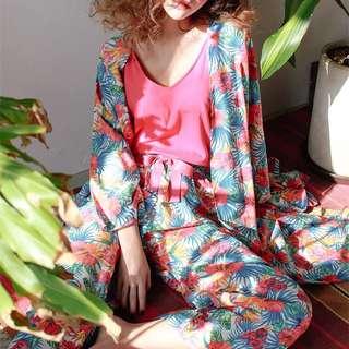 晚安晚安🌙 日本蜷川實花花魁繽紛繁花桃紅背心罩衫寬褲三件組/家居服