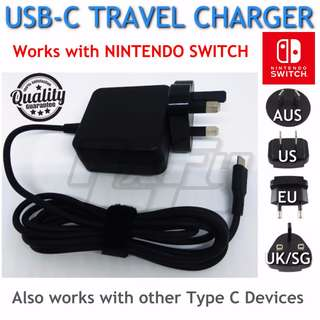 Nintendo Switch Compact Travel AC Wall Charger (USB Type C, Lightweight, Easy to Carry) - Local Warranty Assurance