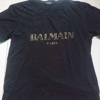 Balmain Gold Imprint Signature Logo M Size Tee.
