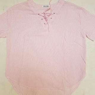 Pink Bow Stripe Blouse