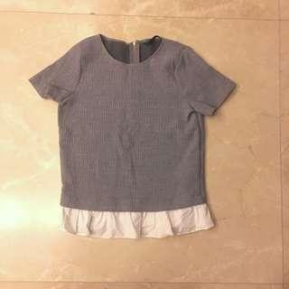 Zara Grey White Ruffled Tee T-shirt Short Sleeves Top 灰色 白色 綢褶 挺身 上衣
