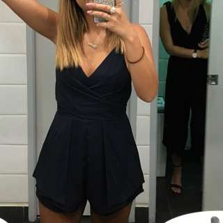Navy Blue Tie Up Play suit