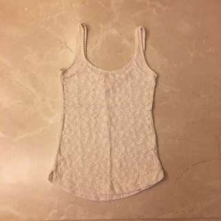 Beige Lace Embroidery Crochet Flowers Tank Top 米色  刺繡 蕾絲 花朵 背心 上衣