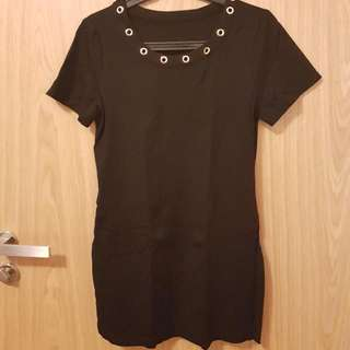 Casual Black Cotton Dress
