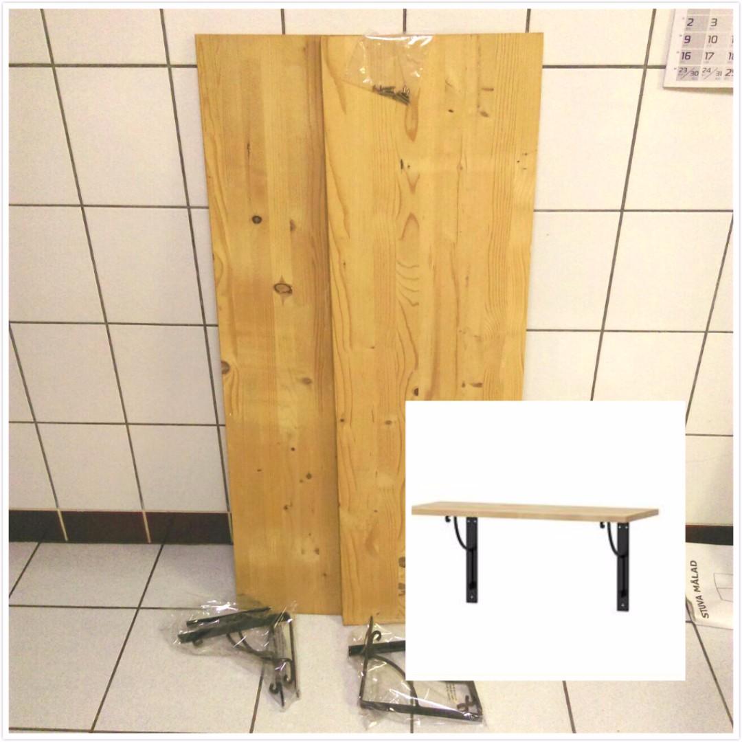 9成新( 2組 )IKEA實心松木層板收納組合