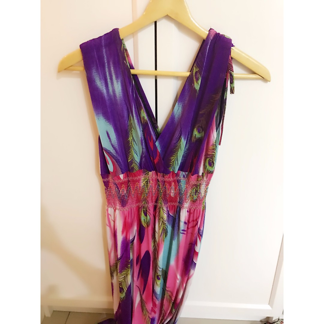 夏日島國熱帶海島風 洋裝鮮豔長裙v領連身裙