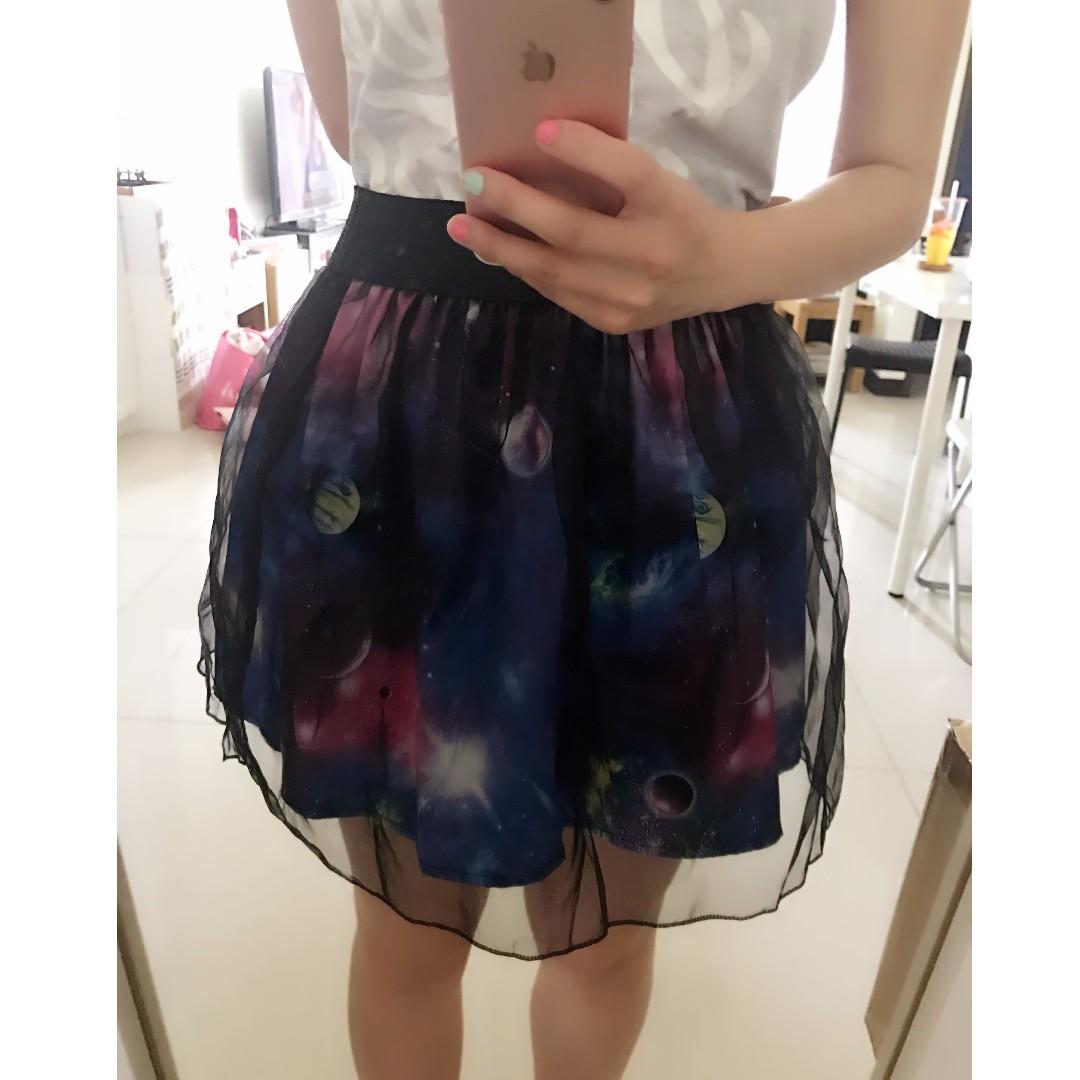 個性時尚迷幻銀河星球宇宙薄紗短裙澎裙