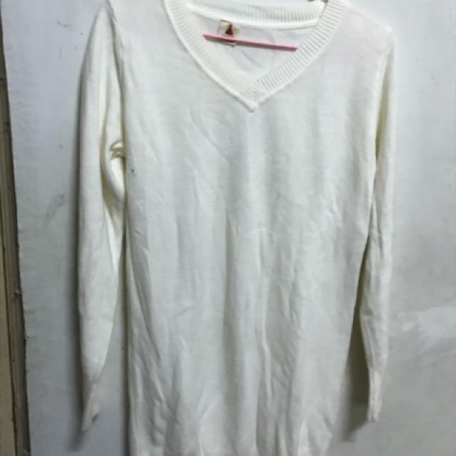 白色 彈性 針織上衣