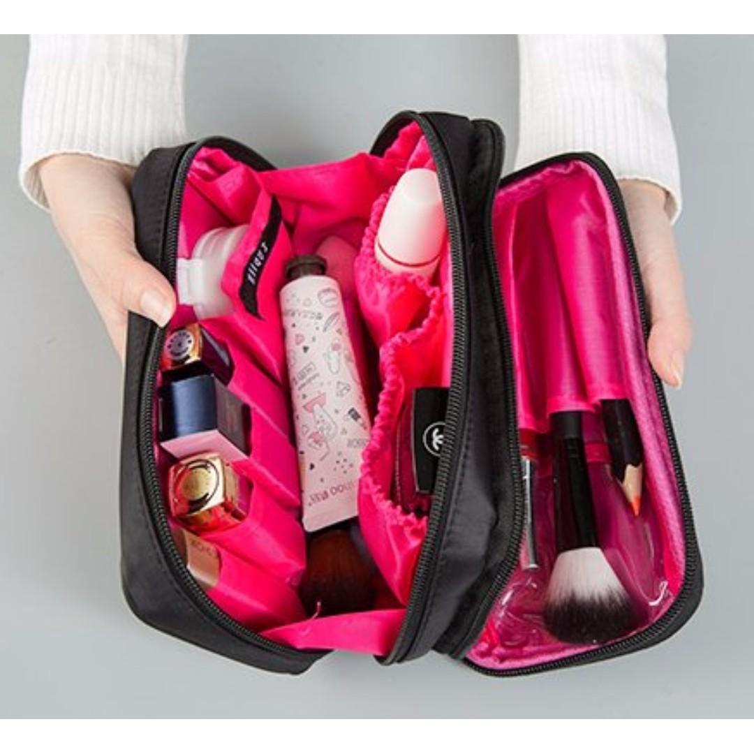素面氣質黑色尼龍布 雙拉鏈化妝包 雙面旅行洗漱包 隨身收納包#b119