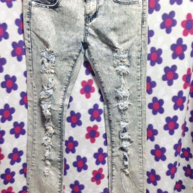 Acid Wash Ripped Pants