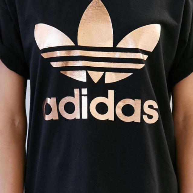 Authentic Adidas Gold Foil Logo Tee Shirt