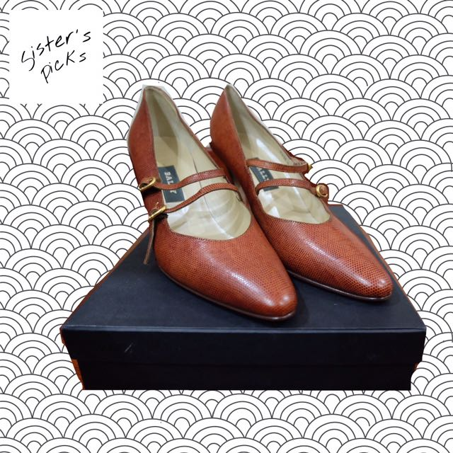 Authentic Bally Vintage Pointy Heels In Cognac
