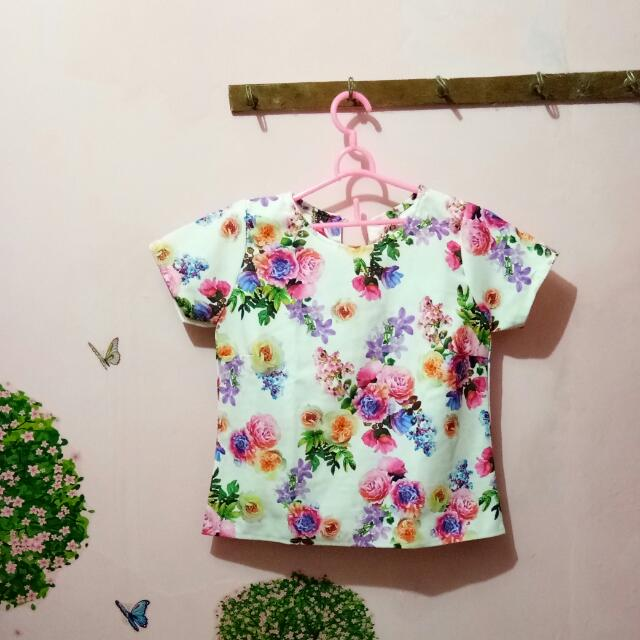 baju atasan Top print Flowers
