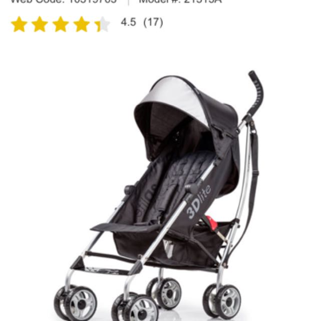 Black Summer Infant 3Dlite Umbrella Stroller