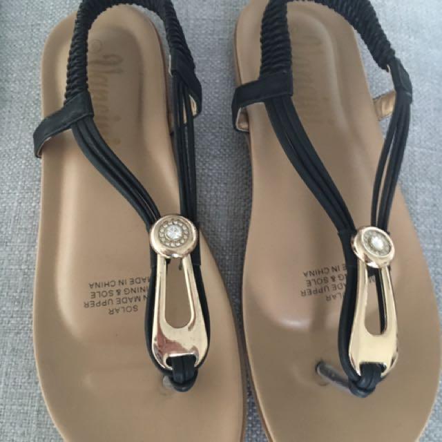 Black Summer Sandals Size 6