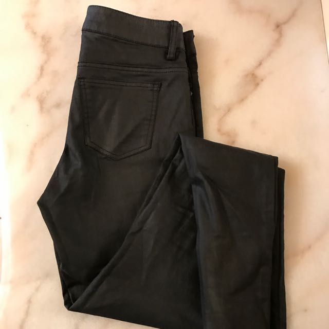 Black Wax Finish Skinny Jeans