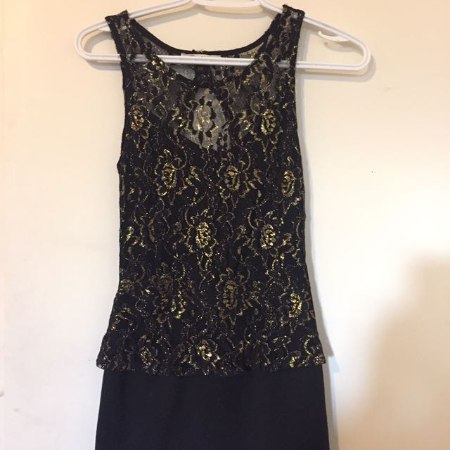 Black&Gold Fitted Dress