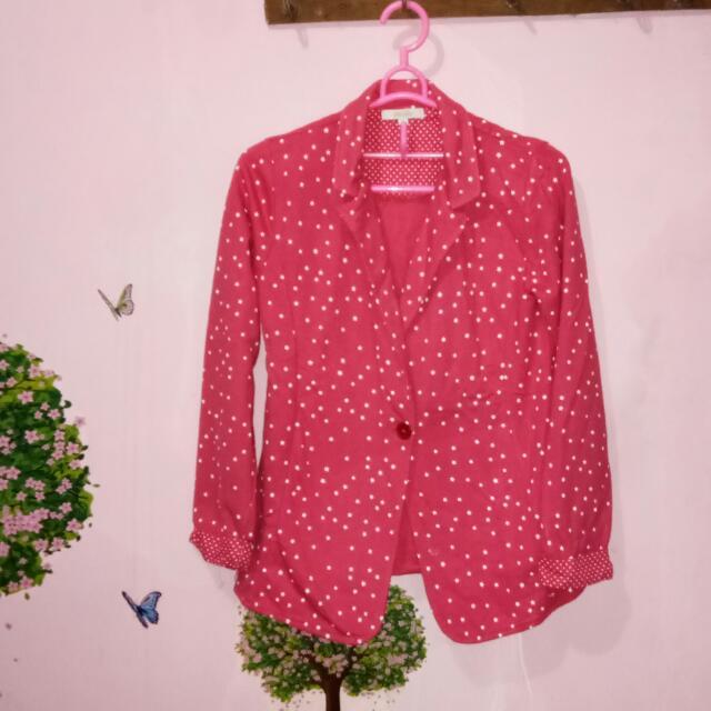Blazer motif polkadot pink