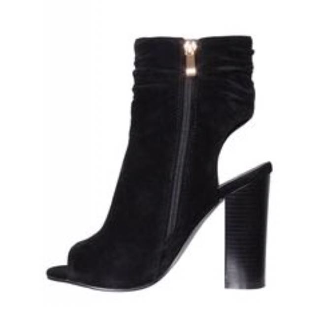 Brand New Peep Toe Black Ankle Boots