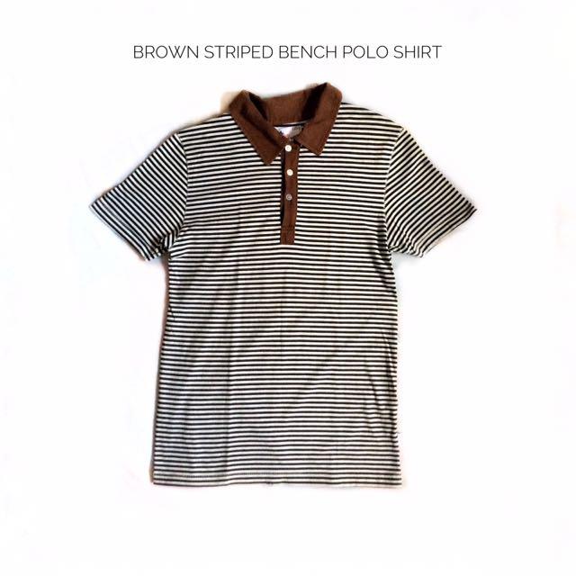 Brown Striped Bench Polo Shirt