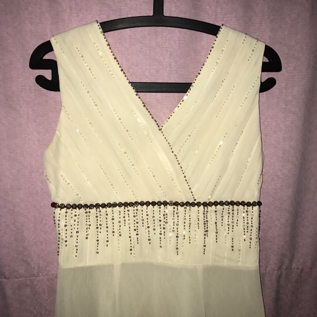 classic dress with cute detail // creme dress / white dress / off white dress / cream dress / sequin dress REPRICE