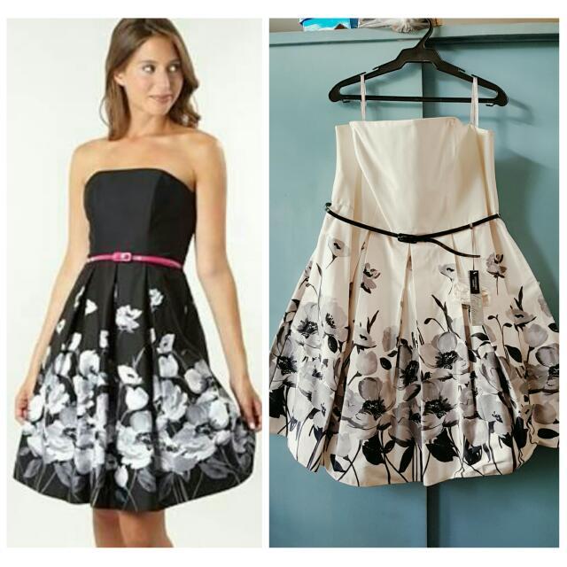 Debenhams white and black flower print Formal Dress / Gown UK 18 ...