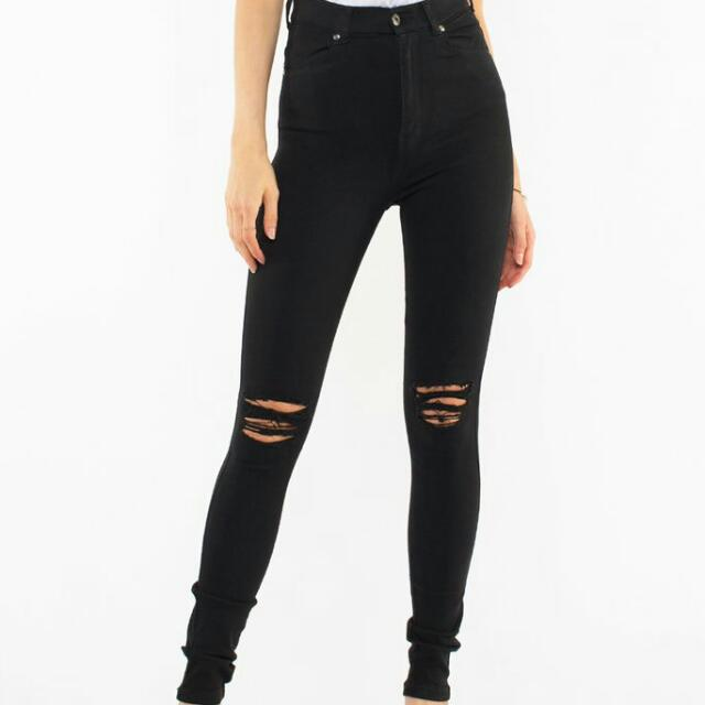 DR. DENIM MOXY BLACK RIPPED JEANS SIZE 6