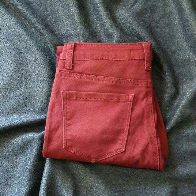 Forever 21 Contemporary Highwaist Maroon Pants