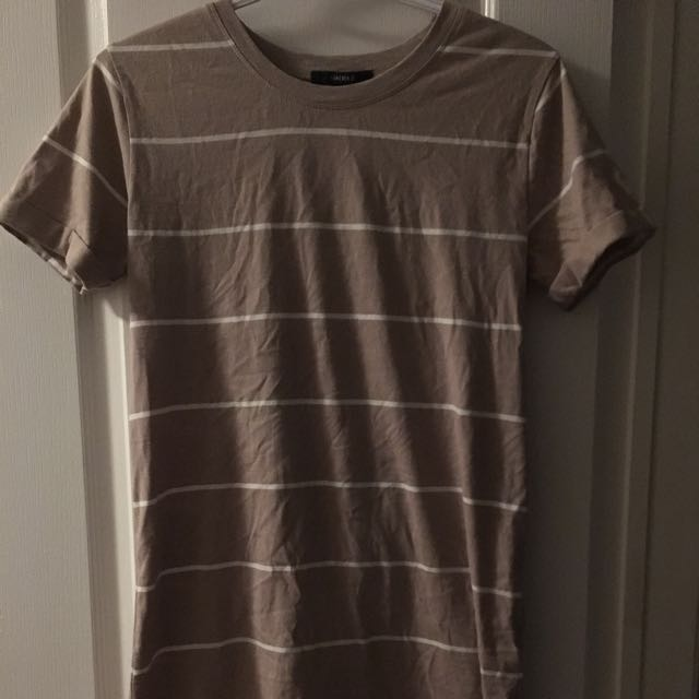 Forever 21 Nude and White Striped Mini T-shirt Dress