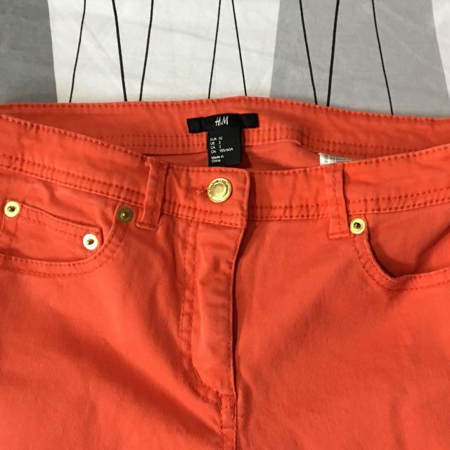 H&M red orange jeans