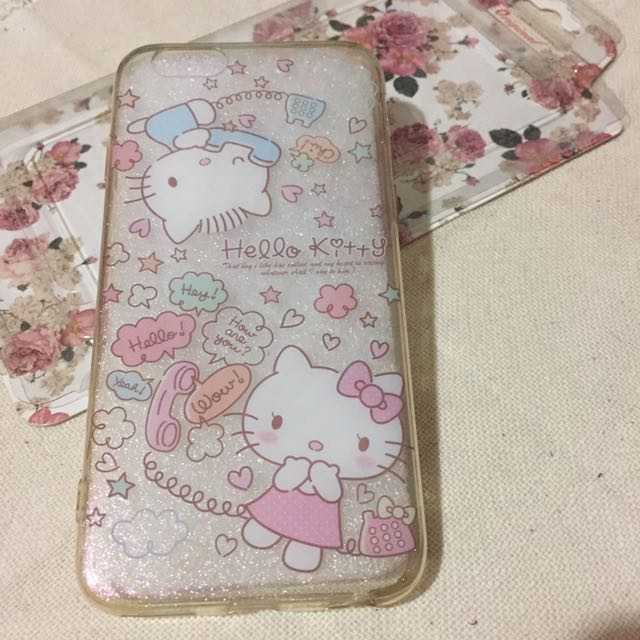 iPhone 6/66s 4.7吋 軟殼 Cute版手繪kitty (背殼有亮粉)