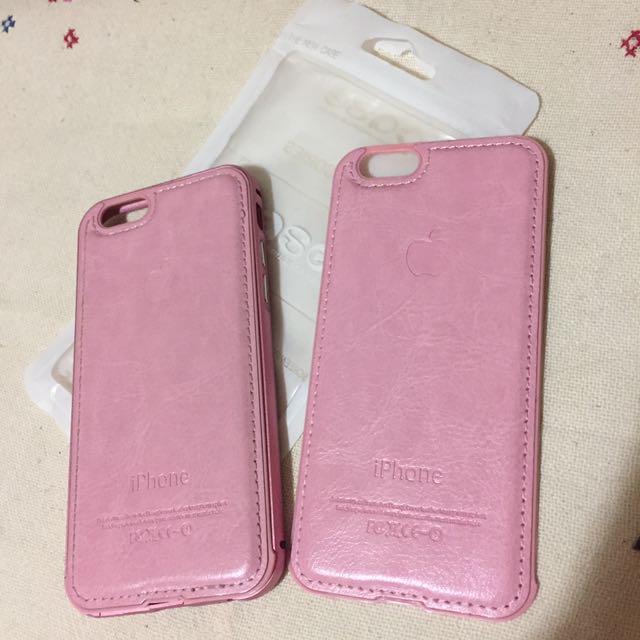 iPhone 6/6s 4.7吋 粉紅色 金屬邊框 皮革背板 (多附一個被殼)