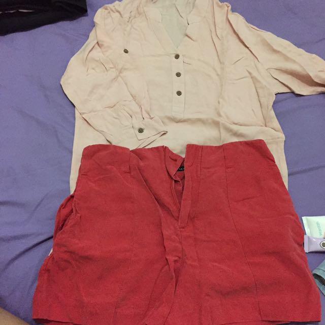 kemeja pink+ celana pendek zara