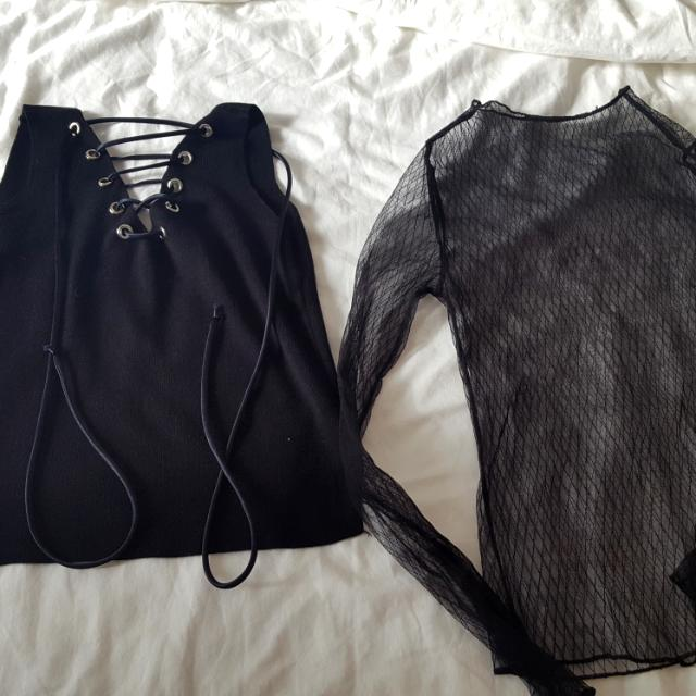 Lace up and mesh tops black