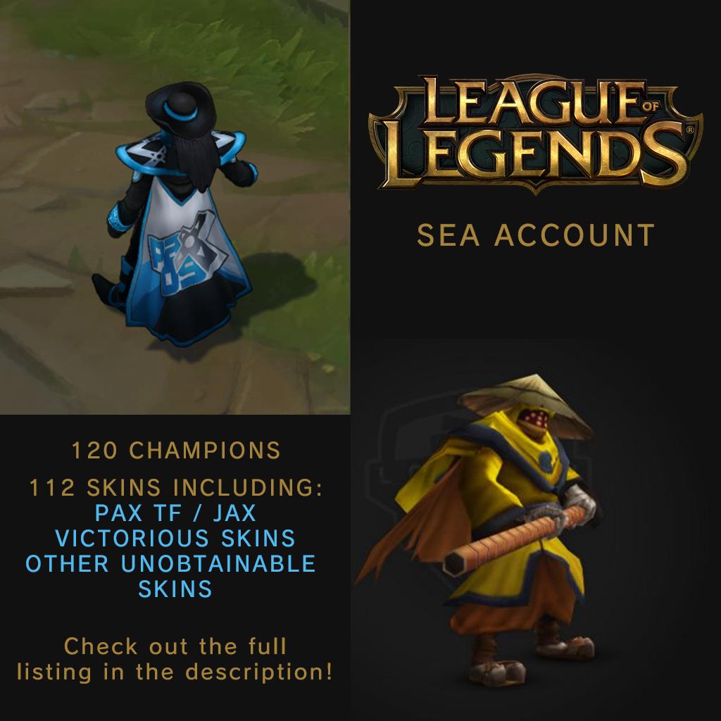 League of Legends SEA Account (+super rare skins, PAX TF/Jax)
