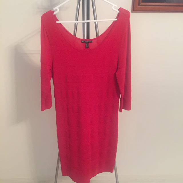 Mango - Red Long Sleeve Dress