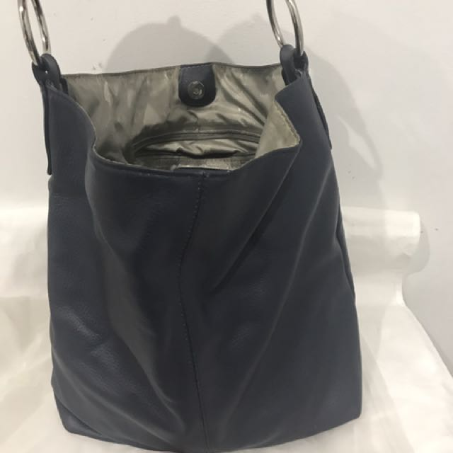 Manzoni Italian Navy Blue Leather Tote