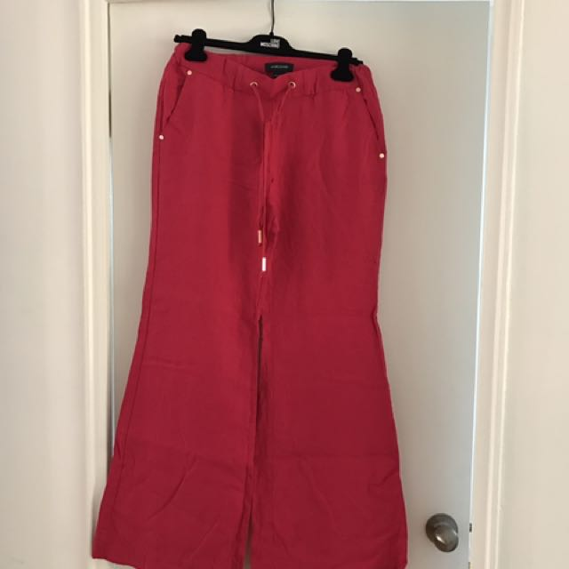 Marciano Pink Linen Loose Fit Pants
