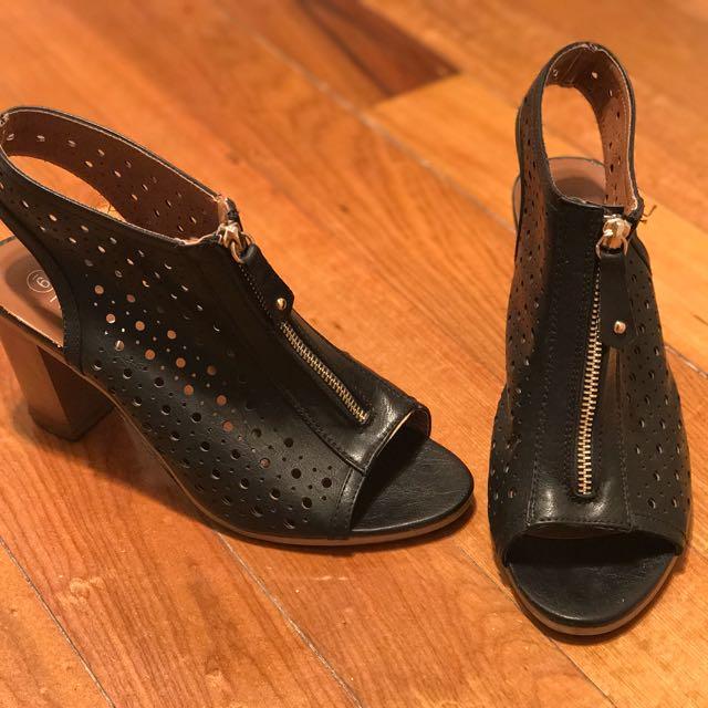 Maya Black Zipper Heels