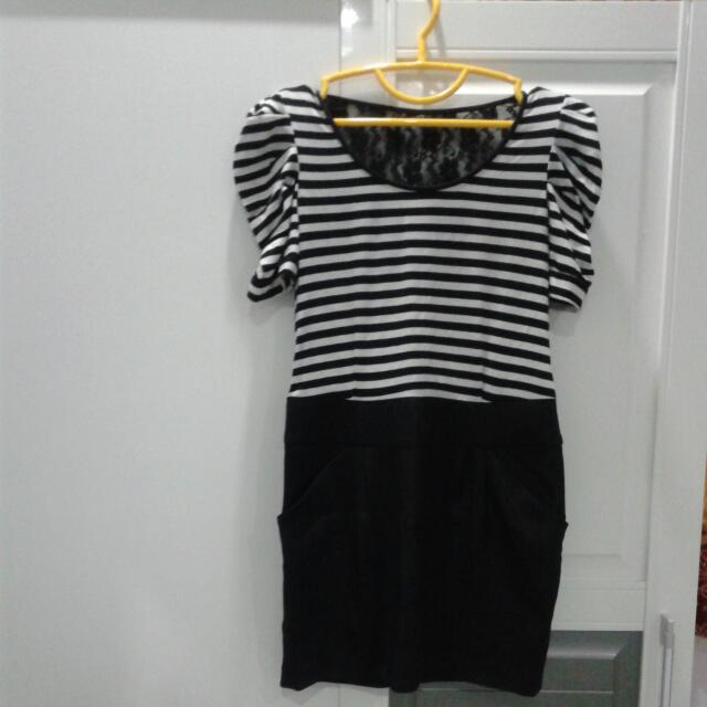 Mini Dress Black N White