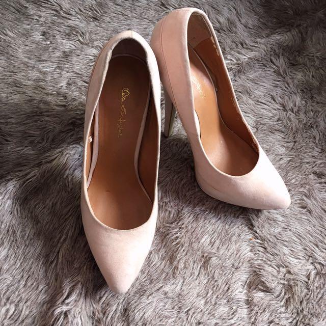 Miss Selfridge Pink Nude Suede Platform Pump Heels