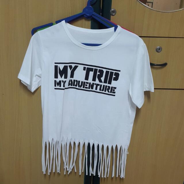 My Trip My Adventure White Fringe Shirt